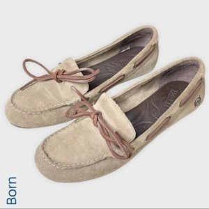 Born tan suede driving loafers moccasins